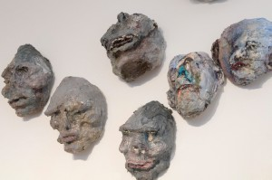 Ancient Heads, acrylic, modeling paste, and mixed media