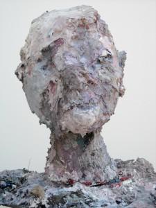 Full Head, acrylic, modeling paste, and mixed media