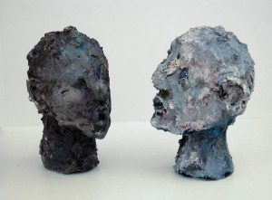 Full Heads, acrylic, modeling paste, and mixed media