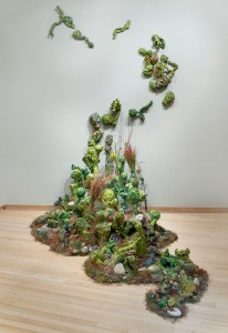 Garden Installation, acrylic, modeling paste and mixed media