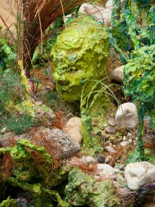 Garden installation, detail, acrylic, modeling paste and mixed media