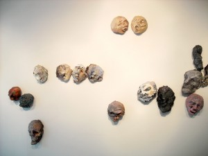 Group of Heads, acrylic, modeling paste, and mixed media