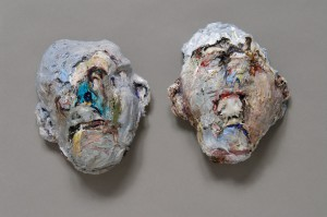 Messed Up Heads, acrylic, modeling paste, and mixed media