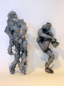 Shadow Couple Apart, acrylic, modeling paste and mixed media