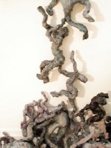Shadow Guys, Climbing, acrylic, modeling paste, and mixed media