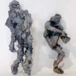 Two Shadow Guys, acrylic, modeling paste, and mixed media